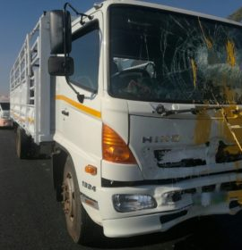 Five roadworks workers injured after a truck rear-ended a bakkie on the N14