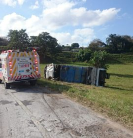 Three injured in truck rollover on the N3, Pinetown