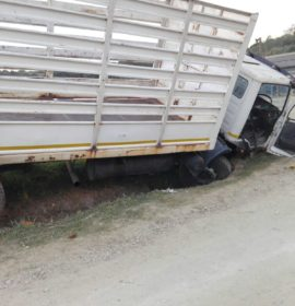 Truck crashes into roadside ditch on a farm along the P200 road in Port Shepstone