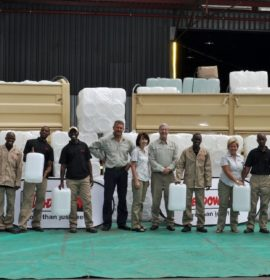 BLUE GOLD: Meadow Feeds, a market leader in the Southern African animal feed industry, have teamed with Barloworld Transport to deliver water to the drought-stressed town of Pomfret and its affected animals.
