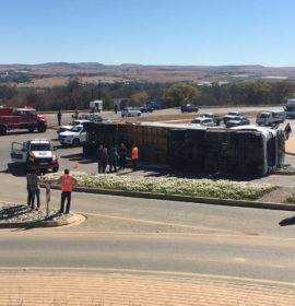 Truck rollover on the R512 near the Lanseria Airport.