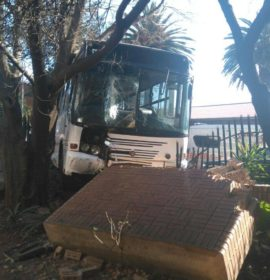 Brake failure blamed as bus crashes through wall in Parktown