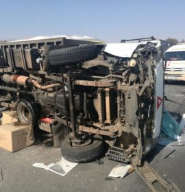 Truck rollover after colision on N14 in Nootgedacht