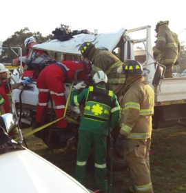 Two trucks collide injuring ten, Worcester.