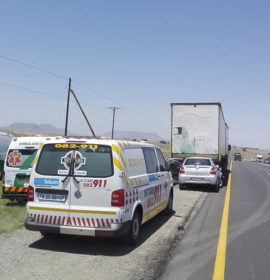 Car crashes into rear of truck along the N3 about 30 Kilometres north of Harrismith