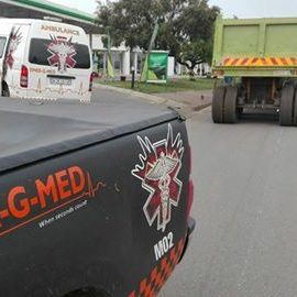 Motorcyclist injured being hit by a truck Germiston
