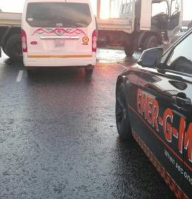 A truck collision where driver lost control, jack-knifed and was T-boned by a taxi, Johannesburg