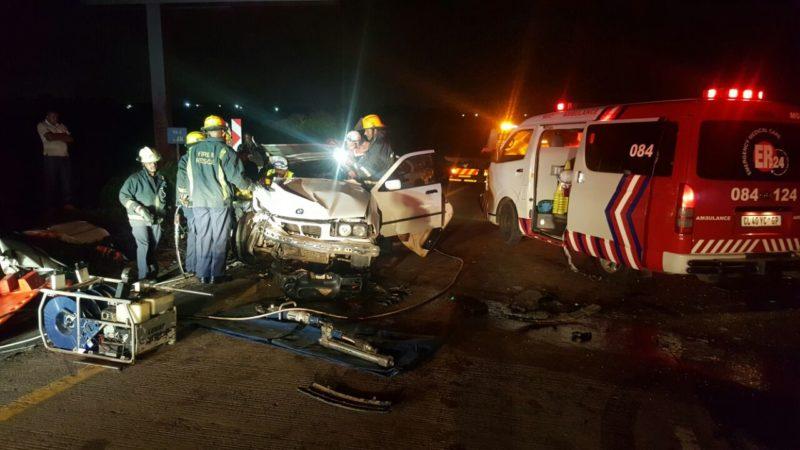 Car rear-ends truck leaving three injured.