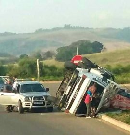 Rice Laden Truck Overturns: King Shaka International Airport