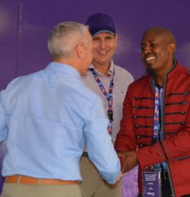 Regent Highway Heroes winner: The 2017 Regent Highway Heroes competition winner Phillip Mhlaolo Mtembu (right) is congratulated by Regent Commercial Vehicles head of operations Paul Dangerfield. Looking on is Hollard Insure CEO Willie Lategan.