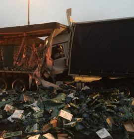 Truck driver seriously injured in a collision on the R24 East just before Edenvale