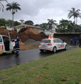 Driver injured when truck is overturned at a construction site in Forest drive, La Lucia, KwaZulu-Natal.