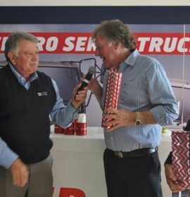 Garry Marshall (SAEPA's CEO) shares the prizegiving stage with John Thomson of SA Trade Promotions, organisers of the exhibition