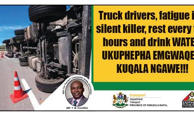 Truck drivers cautioned to prevent drowsy and tired driving!