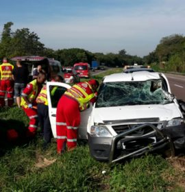 Seatbelt prevents serious injury in collision into truck in Pinetown