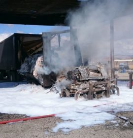 Truck catches fire at the Tugela Truck Inn on the N3, Harrismith