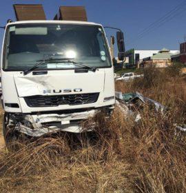 Truck and car collide on the corner of Malibongwe and Kapital in Randburg.