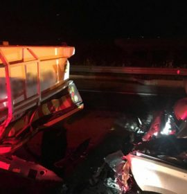 Car rear-ends a truck, on the N14 Malibongwe offramp, Nooitgedacht.