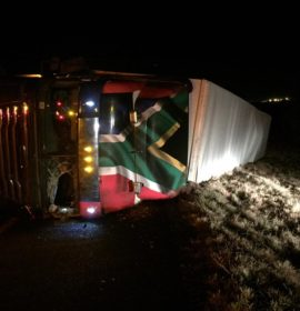 Truck overturns on the N1 South just after Church Street in Bloemfontein