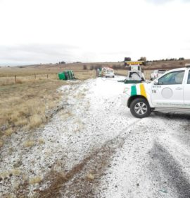 Truck overturns in snow near Bethlehem