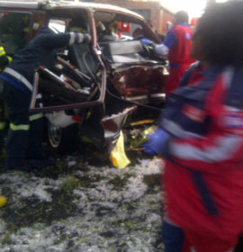 Truck and taxi collide injuring four, Lenasia