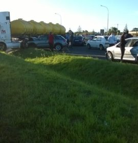 Four injured as truck and 5 vehicles collide near the Giel Basson off-ramp in Cape Town.