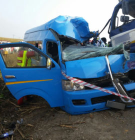 Taxi and truck collide killing two, injuring nine, Eston