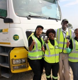 GIRL POWER: Determined to make their mark in a man's world are, from left, Nonhlanhla Ngubane, Lindiwe Myakayaka and Patricia Mbambo, supported by their driver trainer, Nduna Chari