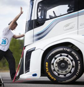 Volvo Trucks' The Iron Knight breaks two world speed records on special Goodyear truck tyres