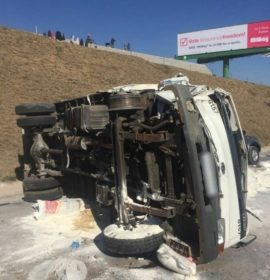 truck crash on highway