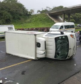 Truck overturns along the N2 north at Doonside