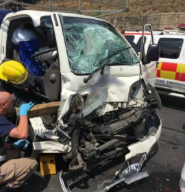Two injured in collision with light delivery vehicle