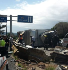 Truck crashes into barrier leaving two injured, Westville