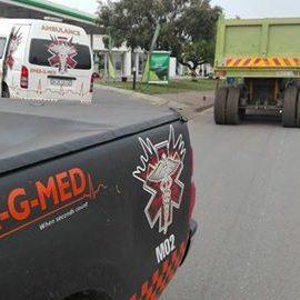 Motorcyclist injured being hit by a truck Germiston