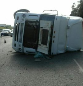 A rollover collision on the M2 West before Cleveland Road,  Germiston