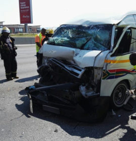 Taxi rear-ends delivery vehicle leaving 12 injured.