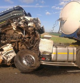 2 Trucks on one lane rear-ended each other, Harrismith