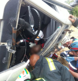 Two injured as cement truck crashes on N2