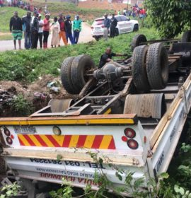 Fortunate escape from serious injury in truck rollover at Riet River near Verulam