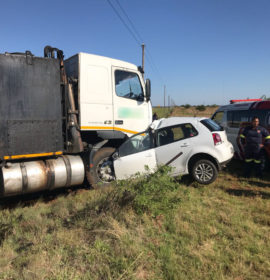 Truck and car collide leaving one dead approximately 15km outside of Potchefstroom.