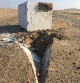 Granite block falls from a truck on the MR44 route, Namibia
