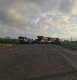 Trucks blocking road in protest action on the R36, Lydenburg