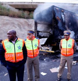 KZN Transport MEC inspects damage caused when 18 trucks were set alight at the Mooi River Toll Plaza.