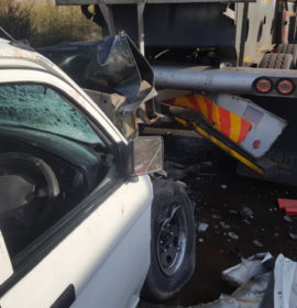 Bakkie rear-ends truck leaving one dead, another critical on the Verena Road in Witbank, Mpumalanga.