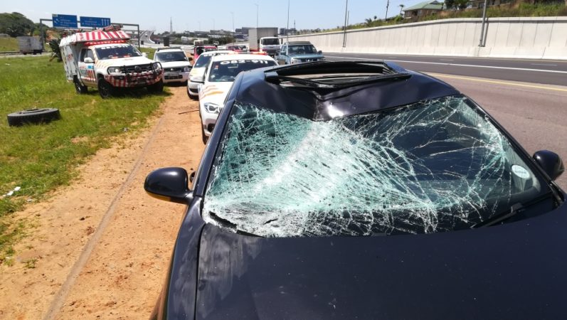 Woman hospitalised after truck tyre crashes into her car near uMhlanga