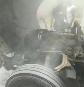 Truck caught fire at Vincent Dickenson Road in Canelands