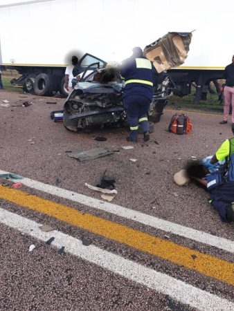 Fatal collision as car crashes into back of truck on the N1 south about 2km from Kranskop.