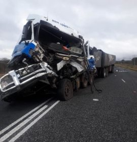 The driver of a truck sustained light injuries after crashing into the back of another truck on the N1