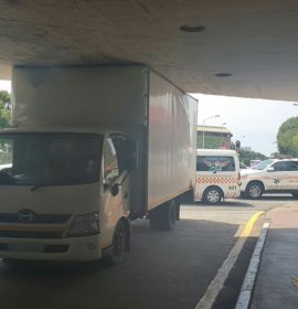 A Truck got stuck under the bridge on DLI Avenue in Greyville