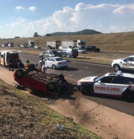 Rollover after truck reportedly rear-ended passenger vehicle